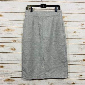 Free People Gray Back Zipper Pencil Skirts Size 10